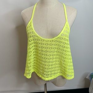 Pink VS neon yellow Top strappy M L blouse knitted